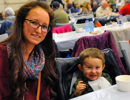 Lydia Blake and Luke Marr, 2, of Simcoe were among the 1,000 people that attended the Holiday Soup Luncheon at the Aud on Tuesday. JACOB ROBINSON/Simcoe Reformer