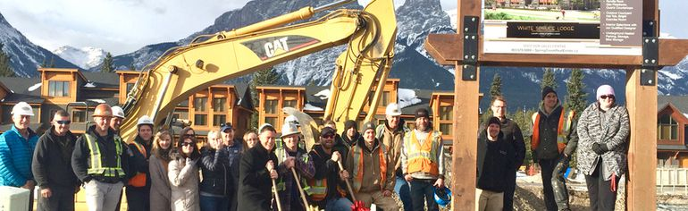 Frank Kernick, developer, (left red bow shovel) and the Spring Creek construction crew break ground on White Spruce Lodge in Canmore on Nov. 15, 2017. (Scott Henderson/ Courtesy of Spring Creek Village)