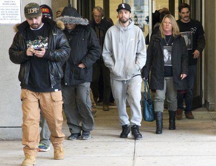 Several people wore t-shirts featuring an image of Cody Andrews to the sentencing hearing of Scott Altiman in London, Ont. on Tuesday, November 21, 2017. (DEREK RUTTAN, The London Free Press)