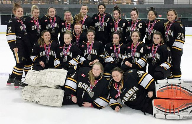The Sarnia Midget A Jr. Lady Sting won silver medals at the Can/Am hockey tournament in Montreal on the weekend. The Lady Sting are, front row, left: Riley Blancher and Angela Steen. Middle row: Kaylee White, Sydney Rogers, Samantha Meere, Emma L'Heureux, Allison Barnes, Alexandra Rizkallah and Brooke Boelens. Top row: Bailey Lauwers, Alexandra Demaiter, Sydney Robbins, Abby Williams, Caitlin Wilson, Jenny MacNaughton, Kathleen Kerwin, Becka Jackson, Gillian Tijerina and Jordan Smith. Not pictured are: coaches Marcel Demaiter, Tim L'Heureux, Darren MacNaughton, Darren Rogers, Erin White, Chad Williams and Jason Wilson, and trainers Karen L'Heureux, Caroline White, Michele Williams and Brenda Wilson. (Contributed Photo)