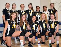 The Banff Community High School senior girls volleyball team with their bronze medals from the South Central Alberta Zone 2A championship on Saturday in Brooks. (Supplied)
