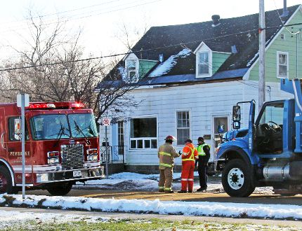 Pembroke firefighters, the Pembroke OPP and city staff on the scene of a house fire on Mary Street Wednesday morning, shortly before wrapping things up. A section of the street was closed for two hours while firefighters dealt with the second floor blaze. The occupants of the house got out safely, although one was taken to hospital and treated for smoke inhalation.
