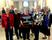 BRUCE BELL/THE INTELLIGENCER Pictured are committee members from Hastings and Prince Edward Women's Institutes who worked on digitizing Tweedsmuir History Books, compiled by members, thanks to a grant from the Parrott Foundation. The group met Wednesday at the Ameliasburgh Town Hall to celebrate. Pictured (from left) are committee members Cecilia Maines (Hastings), Judy Kupecz (chairperson, Hastings) Evelyn Peck (PEC president), Eleanor Wilson (Hastings), Brenda DeCastris (PEC), Barbara Foster (PEC), Linda Gray of the Parrott Foundation and Nancy Woods (PEC).