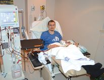 Photo by KEVIN McSHEFFREY/THE STANDARD Jordan Chassé, age 32, is on dialysis at St. Joseph's General Hospital in Elliot Lake. He is on dialysis three times a week for four hours each time to clean his blood.