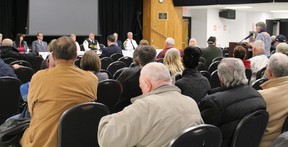 About 150 people attended a forum in Sturgeon Falls Wednesday night regarding policing in the community. PJ Wilson / The Nugget