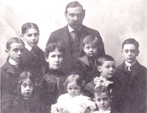 The Pleasence family in 1899. In the front row: Ena (left), Mike and Harry. Second row: Ed, Margaret, Jim, Joe and Gordon. Third row: Reg and Irish Jack.