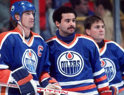 Wayne Gretzky, Grant Fuhr and Andy Moog of the 1980s Edmonton Oilers (GETTY IMAGES)
