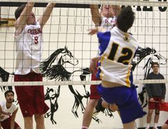 The Cochrane High School Cobras(white and red) defeated Brooks 2-0 at 3A zones for boys' senior volleyball. George McDougall hosted the 3A South Central Zone Championships on Nov. 17 and Nov. 18. Cochrane High finished second-place losing a close 2-1 game to Strathmore.The Cobras won a birth to provincials that will begin Nov. 23 at Strathmore High School.