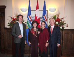 Tanya Koob is presented with the Senate 150th Anniversary Medal on Nov. 16 at the McDougall Centre in Calgary. Pictured left to right: Mark Koob, Lieutenant Governor Lois E. Mitchell, Myself, Tanya Koob and Senator Doug Black