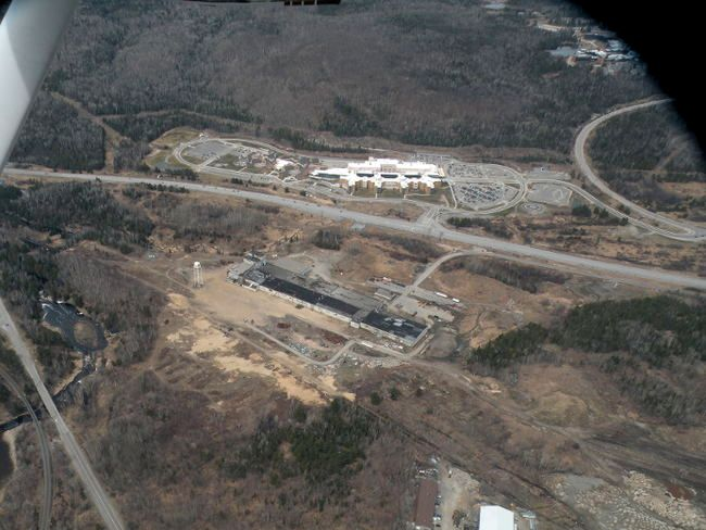 This aerial photo of the former Nordfibre plant, foreground, and North Bay Regional Health Centre, was taken in 2011. The property owners are now seeking rezoning changes to allow for a casino.