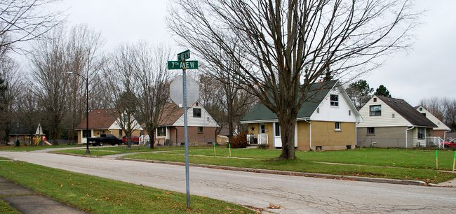 Some of the county-owned Westmount units in Owen Sound. DENIS LANGLOIS/THE SUN TIMES
