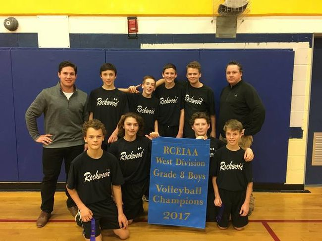 The Rockwood Ravens were this year's RCEIAA Grade 8 boys west division volleyball champions. Pictured in back (from left) are coach Matt Gagne, Garrett Schulz, Evan Hill, Ben Seegmiller, Ethan Mitchell and coach Andrew Phelan. Pictured in front (from left) are Aidan Keuhl, Jacob Morel, Hunter Roggie and Owen Legree.