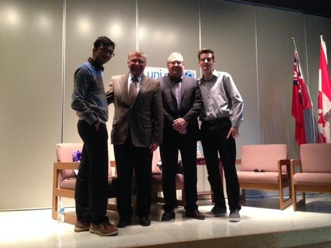 <p>Shivam Bhatt, MP Guy Lauzon, Mayor Leslie O'Shaughnessy and Gabriel Valin at Ecole L'Heritage on Friday for a question-and-answer session in honour of World Children's Day.</p><p> Handout/Cornwall Standard-Freeholder/Postmedia Network