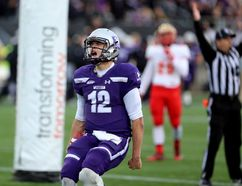 Western Mustangs quarterback Chris Merchant celebrates after running in a touchdown on the Mustangs' first drive of the game. Merchant was named Vanier Cup MVP. (MIKE HENSEN, The London Free Press)