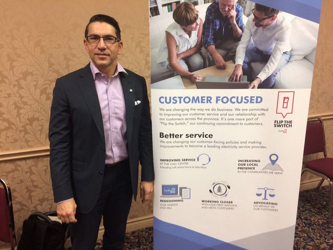 Ferio Pugliese, vice president of customer care and corporate affairs for Hydro One, spoke to local business leaders Monday morning about a new focus on customer service. (HEATHER RIVERS/SENTINEL-REVIEW)