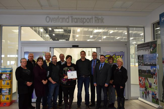 PHOTO SUBMITTED Councillor Linda Dianne Waddy, Director of Community Services Arlen Miller, Councillor Karen Rosvold, Councillor Peter Harris, Trevor Dyck- Operations Manager Overland Transport, Councillor Ross Sutherland, Reeve Leanne Beaupre, Lyle Toews- Owner Overland Transport, Councillor Harold Bulford, Councillor Coery Beck, Parks & Recreation Manager Christine Rawlins and General Manager of the Crosslink County Sportsplex Ramona Rollins.