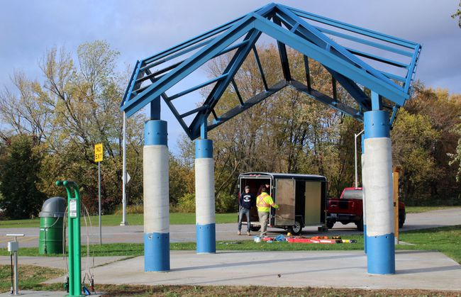 "A crew of painters from Arc Building Contracting Ltd. of Hamilton packs up after putting a new coat on the pavilion on the Kate Pace Way at Lee Park, in October. TransCanada Trails is revamping pavilions across the country. The list of donors and supporters will be reattached and ""wings"" will be added to each of the columns.