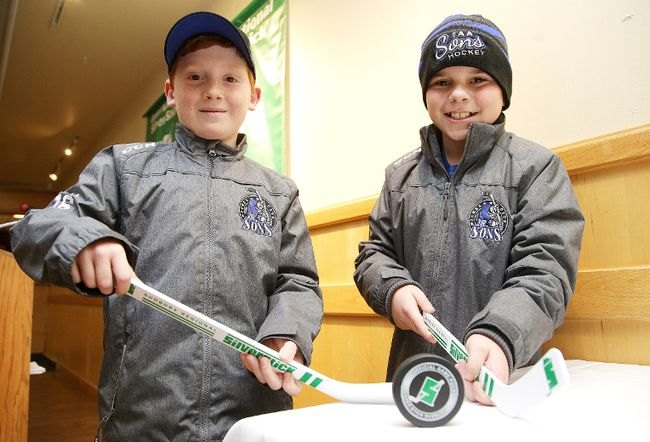Nolan Schiewek  and Mathieu Bourassa of the Nickel City Jr. Sons major atom AA team were on hand for the launch of the Silver Stick Hockey Tournament at a press conference in Sudbury, Ont. on Tuesday November 28, 2017. The tournament gets underway on Thursday.Gino Donato/Sudbury Star/Postmedia Network