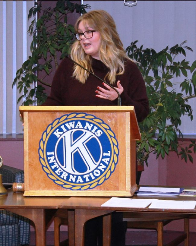 Sarnia Speaks founder Danielle Cooper spoke to Sarnia-Lambton Golden K Kiwanis members on Nov. 21.