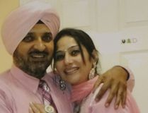 Sukhchain Brar and his wife, Gurpreet Brar, are shown in India about a month before her body was found in a burned truck on Highway 402. (Supplied photo)