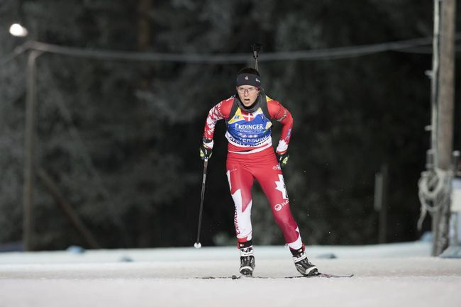 Canada's Julie Ransom competes in the World Cup Biathlon individual women's race in Oestersund, Sweden on Wednesday, Nov. 29, 2017. (Manzoni/ NordicFocus)