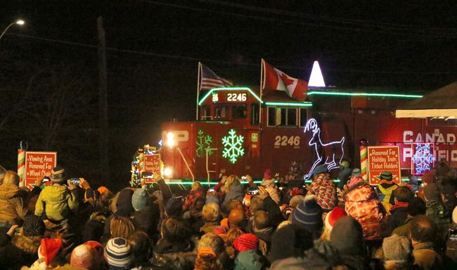 The CP Holiday Train pulls into Woodstock, Ont. on Wednesday November 29, 2017. The event saw more than 2,000 people attend. Greg Colgan/Woodstock Sentinel-Review/Postmedia Network