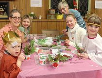 Messy Church at Lucknow Presbyterian gives people another option to be involved in worship, music and food as a family. Messy Church in Lucknow started in July 2017 and takes place on the last Wednesday of each month. There will be no Messy Church for the month of December 2017 and regular Messy Church will begin in January 2018.  L-R: Monique Cooper, Corrie Cooper, Liam Cooper, Marg Hofer, Stephanie McLean and Macey Farrish come together for the craft time at Messy Church in Lucknow.