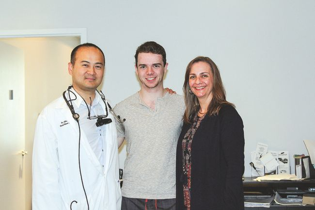 From left: Dr. Allen Lam with grateful patient Calder Lyons and mother Michele.