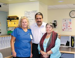 From left: RPN Penny Woods, Dr. Ghias Butt and grateful patient Anna Melara.