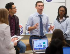Ontario PC Leader Patrick Brown was at Western University on Thursday, where answered student questions about his party's plans. (MIKE HENSEN, The London Free Press)