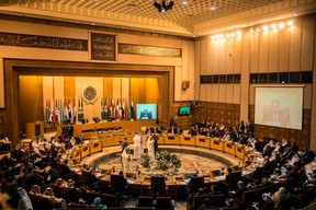 """A picture taken on November 19, 2017, shows a general view of the Arab League headquarters during a meeting in the Egyptian capital Cairo. Arab foreign ministers gathered in Cairo at Saudi Arabia's request for an extraordinary meeting to discuss alleged """"violations"""" committed by Iran in the region. KHALED DESOUKIKHALED DESOUKI/AFP/Getty Images"""