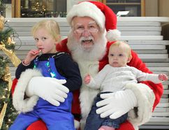 Ripley's 2017 Christmas Parade of Lights brought out the crowds on Nov. 26, 2017. Pictured: L-R: Paisley Farrell, Santa and Nora Farrell pose for a photo following the Ripley Santa Claus Parade. (Ryan Berry/ Kincardine News and Lucknow Sentinel)