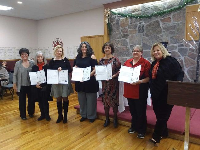 "Some of the Bruce County editors/reporters who tell the stories of outstanding women were among the guests at ""A Remarkable Assembly of Bruce County Women"" Nov. 30 at the Underwood Community Centre. Kincardine Mayor Anne Eadie (left) and Huron Bruce MPP Lisa Thompson (right) presented the awards to Sandy Lindsay (left), Barb McKay, Kiera Merriam, Frances Learment and Liz Dadson. Submitted photo"