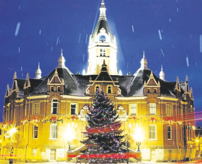 Stratford City Hall is alight with a festive glow at this time of year. (Special to Postmedia News)