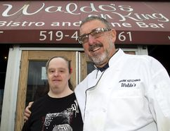 Kathy Gallagher and Waldo's owner Mark Kitching have worked together for more than 20 years in his London restaurants. Gallagher, 50, is retiring with an open house Sunday at Richards Memorial United Church. (MIKE HENSEN, The London Free Press )
