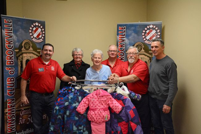 The 29th annual snowsuit drive, run by the Kinsmen Club of Brockville, has made sure 370 local children will be kept warm this winter so far. From left: Erik Gravelle, Donna Smith, Peggy Wiechno, Bob Mussell, Denis Laderoute and Steve Orr are shown here on Friday, the second last day of the annual drive at the 1000 Islands Mall. (SABRINA BEDFORD/The Recorder and Times)