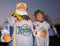 Robot Santa left no doubt where his hockey allegiances lie during Saturday's Santa Claus Parade through Delhi. Rocking out with Santa on the Delhi Hockey Moms float was Kolton Howden of Delhi. The Hockey Moms float earned an honourable mention from the judges in the category of Best Lighting. MONTE SONNENBERG / SIMCOE REFORMER
