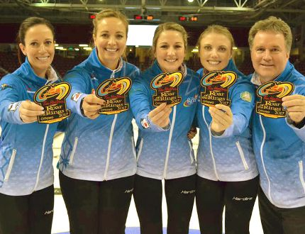 From left, Julie Tippin, Chantal Duhaime, Rachelle Vink, Tess Bobbie and coach Barry Westman. SUBMITTED PHOTO.