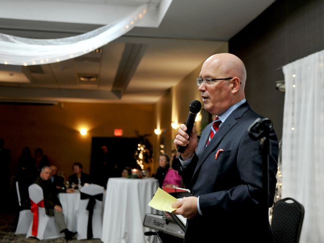 Leeds-Grenville MPP Steve Clark speaks to guests at his annual constituency Christmas gathering at the Brockville Convention Centre on Sunday. (RONALD ZAJAC/The Recorder and Times)
