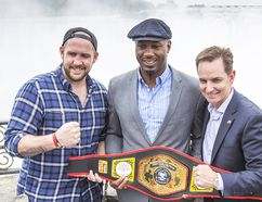 From left: Madoc boxer Dillon (Big Country) Carman shows off his Canadian heavyweight boxing championship belt along with former world champion Lennox Lewis and promoter Les Woods at Niagara Falls prior to his weekend title defence. (Bob Tymczyszyn/Postmedia Network)