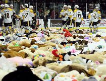 The Sarnia Sting collected more than 4,000 stuffed animals during their annual teddy bear toss in a game against the Oshawa Generals at Progressive Auto Sales Arena in Sarnia, Ont., on Sunday, Dec. 3, 2017. (Mark Malone/Postmedia Network)