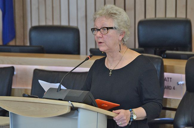 Anna Pandos, chairperson of the Strathcona County Public Library board, presents the local facility's proposed 2018 budget request to council for the coming year, noting the library is seeking a tax decrease for residents — a savings of approximately $1.69 per household.  Photo by Krysta Martell/Sherwood Park News/Postmedia Network