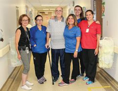 From left: Social Worker, Navigator Victoria Chippendale, RPN Tricia Boshell, RPN Lindsay Sayer, Grateful Patient Michael Horvath, RN Kylie Teggart and PSW Laura Johnston.