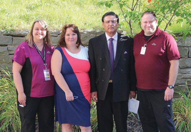 From left: Recreational Therapist Debbie Court, Grateful Patient Laura Feeney, Dr. Shreekant Sharma and Recreational Therapist Brad Mears.