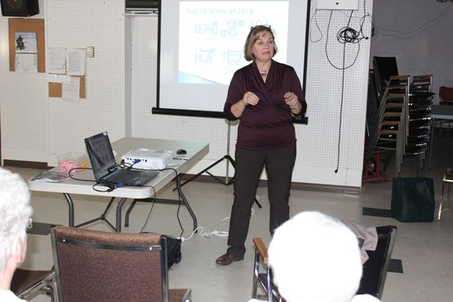 Karen Smith of the Better Business Bureau of Saskatchewan spoke at the Seniors' Place in Melfort on Thursday, November 30.