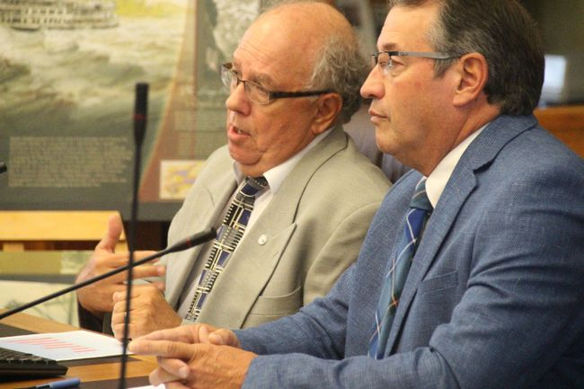<p>Maxville Manor CEO Bernard Bouchard, left, and board chair Ivan Coleman ask SDG council for $2.25 million to help pay for the facility's redevelopment project on Tuesday October 10, 2017 in Cornwall, Ont. </p><p>