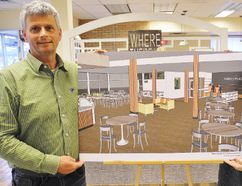 Aviva Canada awarded Church Out Serving $45,000 Tuesday toward its new community kitchen in Simcoe. Celebrating the win at Church Out Serving's Riversyde 83 building were chair Eric Haverkamp, of Simcoe, and fellow executive member Virginia Lucas of Waterford. MONTE SONNENBERG / SIMCOE REFORMER