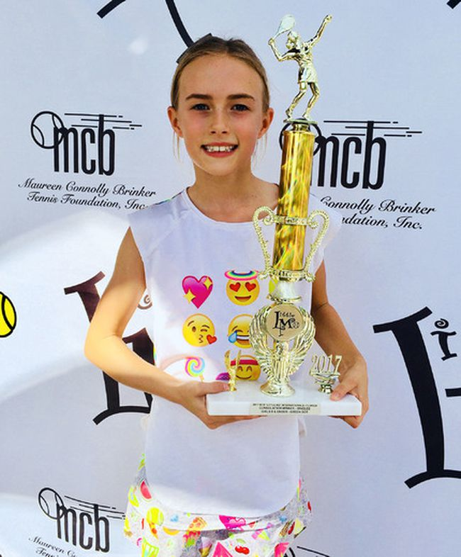 """Abby Gordon of Sarnia is the consolation champion in an eight-year-old girls' division at the 2017 """"Little Mo"""" Internationals tennis tournament in Palm Beach Gardens, Fla. (Contributed Photo)"""