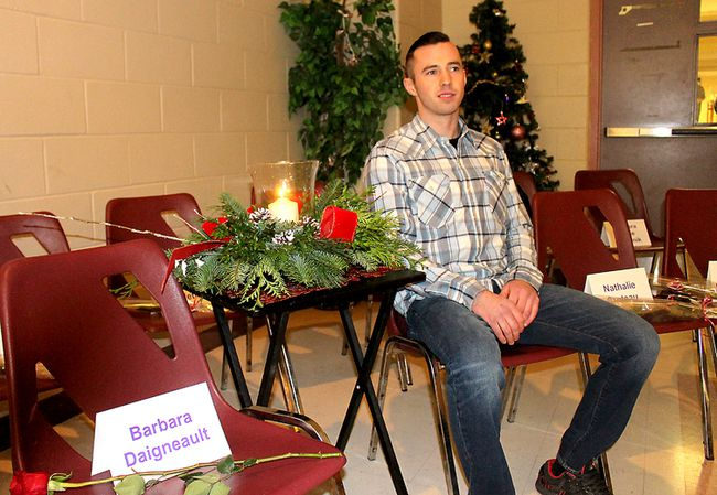 Jacob Wells, 24, of Halifax, N.S., spoke about how a personal change in perspective has helped change his relationships with women, as guest speaker at the local National Day of Remembrance and Action to End Violence Against Women event held in Chatham, Ont. on Wednesday December 6, 2017 to remember the 14 women murdered in the Montreal Massacre on Dec. 6, 1989. (Ellwood Shreve/Chatham Daily News/Postmedia Network)