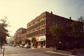 King Street, south side, looking east from the Market Square. Left to right; The Merrill Hotel, Urquhart's New Block, The Thompson Block, The Stephens Block, The Snook Block, The Taft Block, The R. O. Smith Block. All buildings remain except the Taft and Smith Blocks.